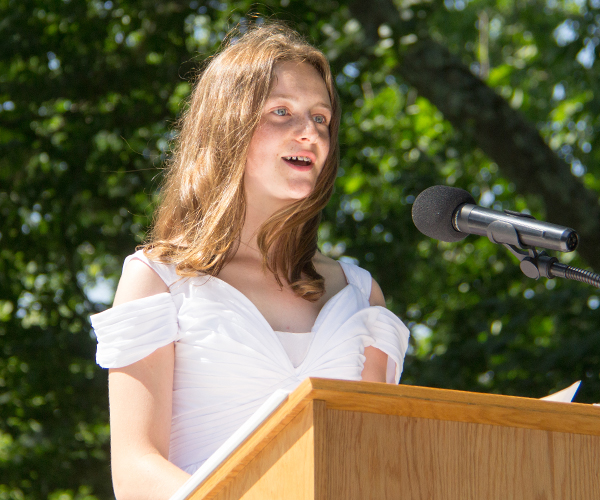 Ella N Speaking at 2017 Ridgefield Academy Graduation