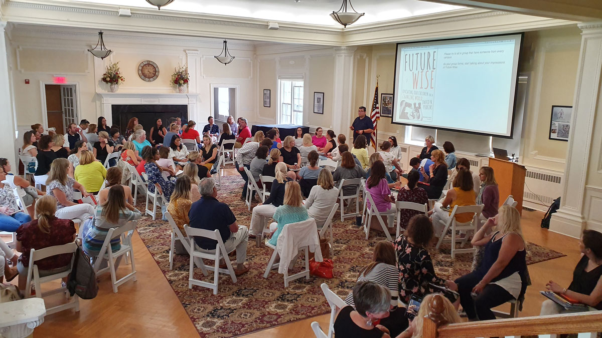 Faculty and staff from Landmark Preschools and Ridgefield Academy met in Hope Hall to discuss Future Wise