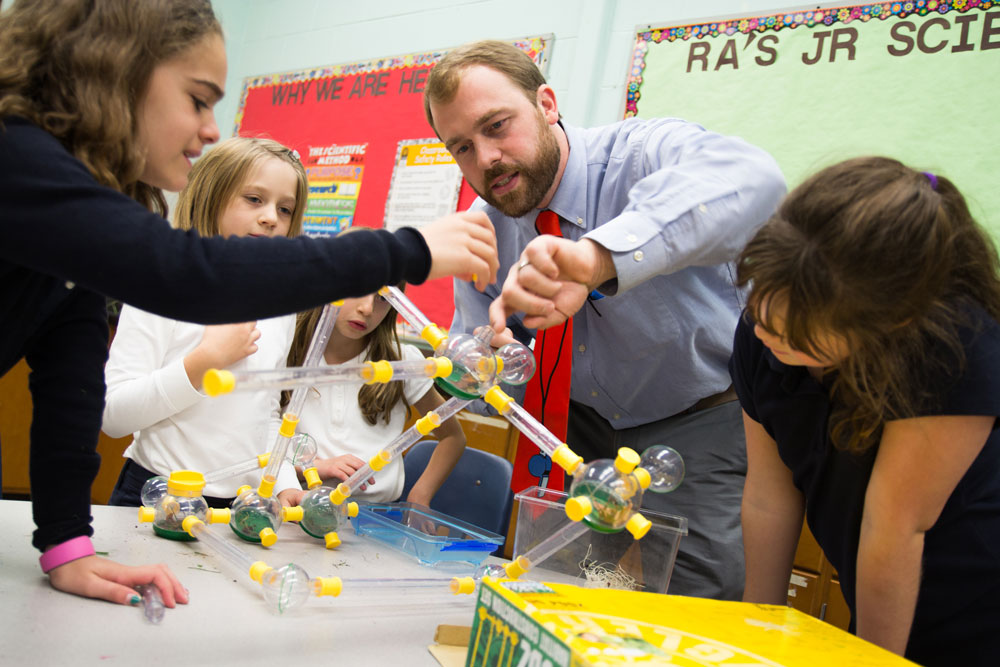Ridgefield Academy Science Teacher Jerry Nash with Grade 3 Students
